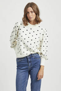 OBJECT trui Laurie met stippen en textuur wit/zwart, Wit/zwart