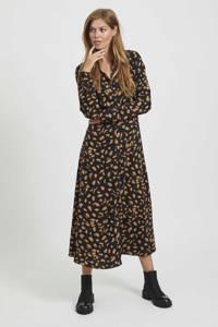 OBJECT blousejurk met all over print zwart/bruin, Zwart/bruin