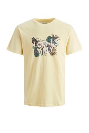 T-shirt met printopdruk lichtgeel