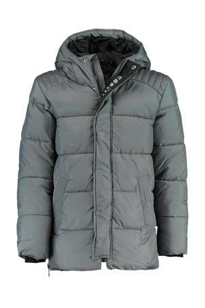 gewatteerde winterjas met tekst grijs