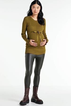 gebreide zwangerschapslongsleeve Zoey met ceintuur bruin
