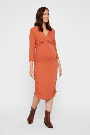 zwangerschaps- en voedingsjurk Aimy Tess oranjebruin