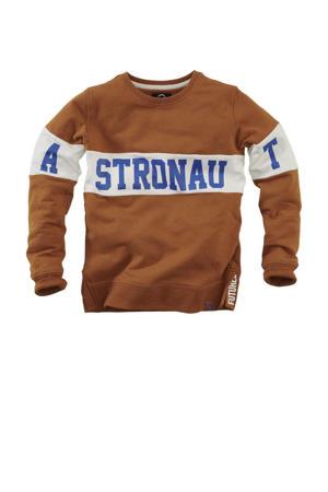 sweater Mats met tekst bruin