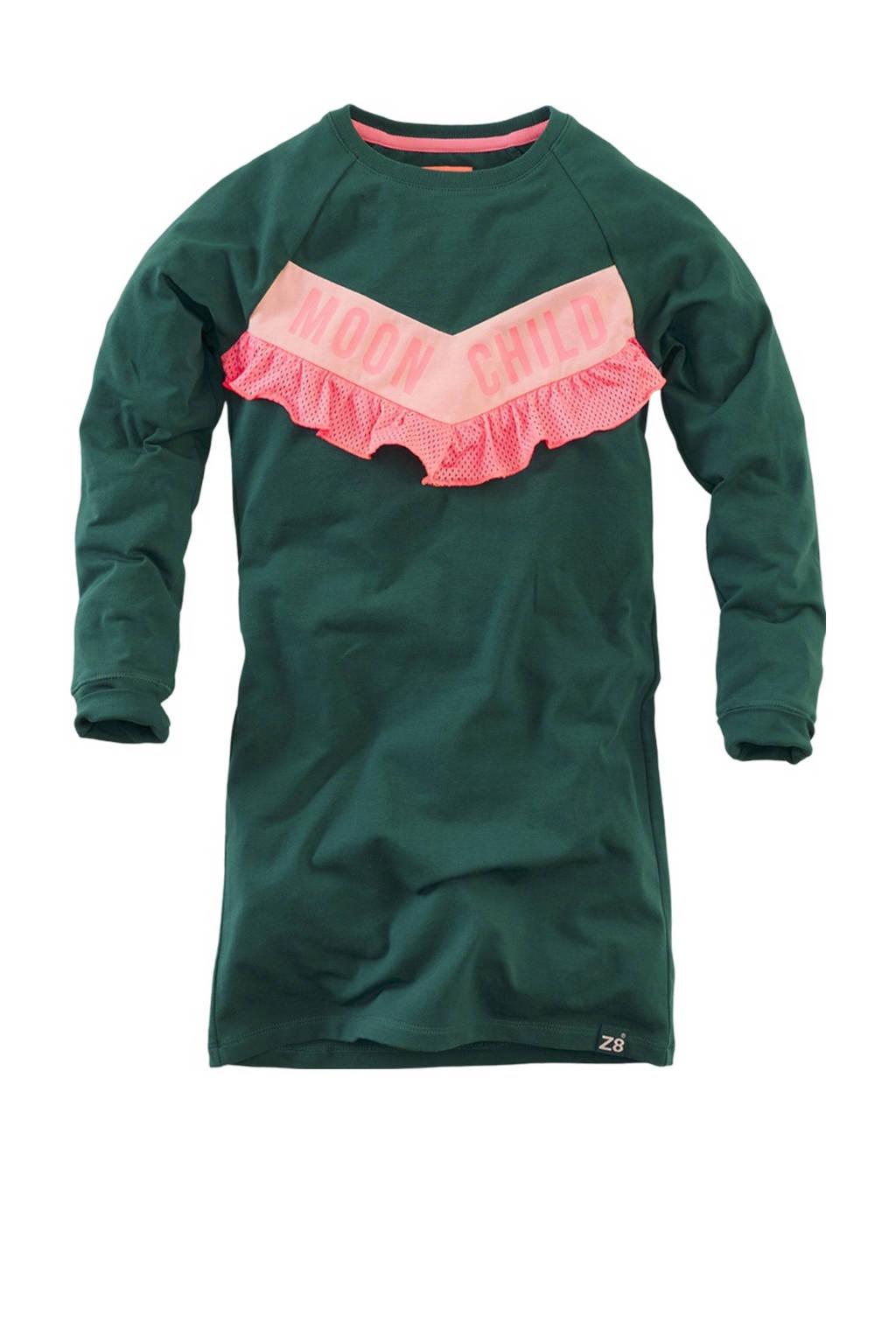Z8 sweatjurk Tanneke met tekst en volant groen/roze, Groen/roze
