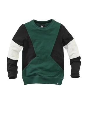sweater Nico  groen/zwart/wit