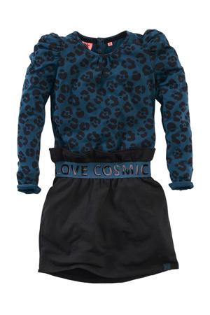 jurk Hanoeksa met panterprint en volant petrol