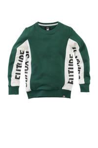 Z8 sweater Niels met tekst groen/wit, Groen/wit