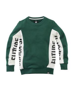 sweater Niels met tekst groen/wit