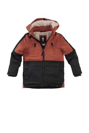 gewatteerde jas Tabbo brique/zwart