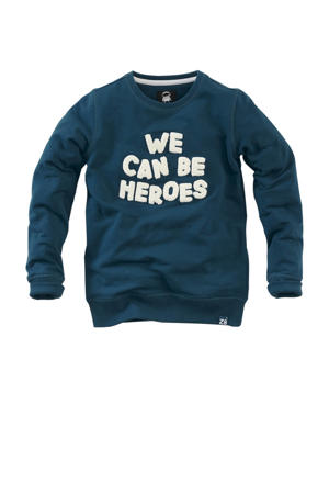 sweater Sjoni met tekst blauw