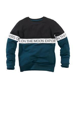 sweater Holger met tekst zwart/petrol