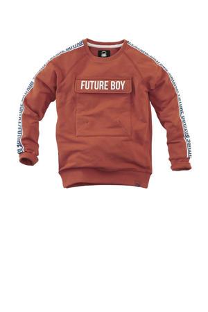 sweater Luca met contrastbies brique