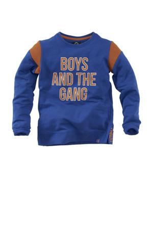 sweater Dennis met tekst blauw