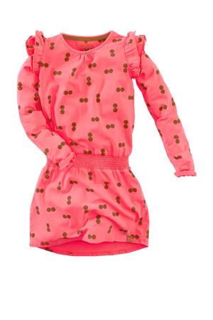 jurk Ellarose met all over print en volant roze
