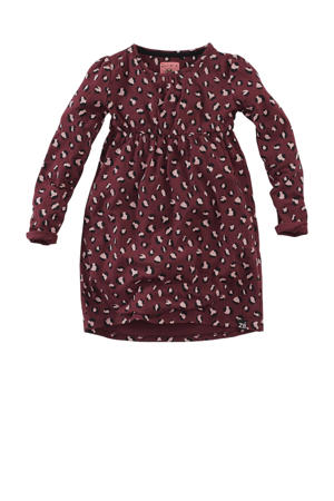 jurk Klaartje met panterprint donkerrood