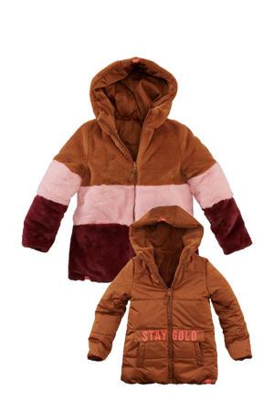 baby reversible imitatiebont winterjas Trix bruin/roze/aubergine
