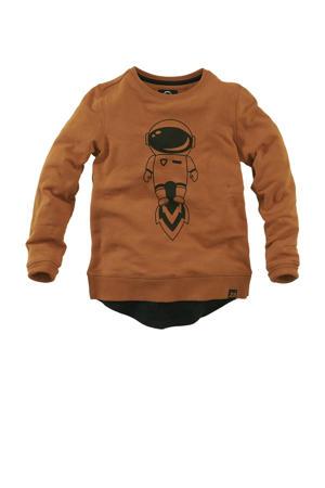 sweater Patrick met printopdruk bruin