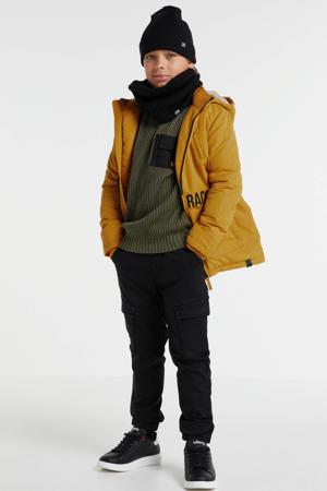 gewatteerde jas Aaren met tekst geel