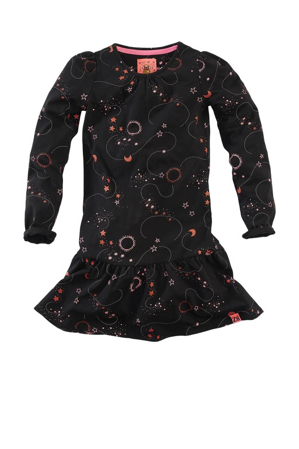 Z8 jurk Hinke met all over print en volant zwart, Zwart