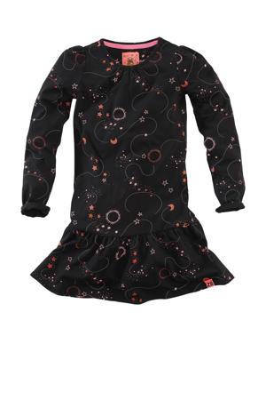 jurk Hinke met all over print en volant zwart