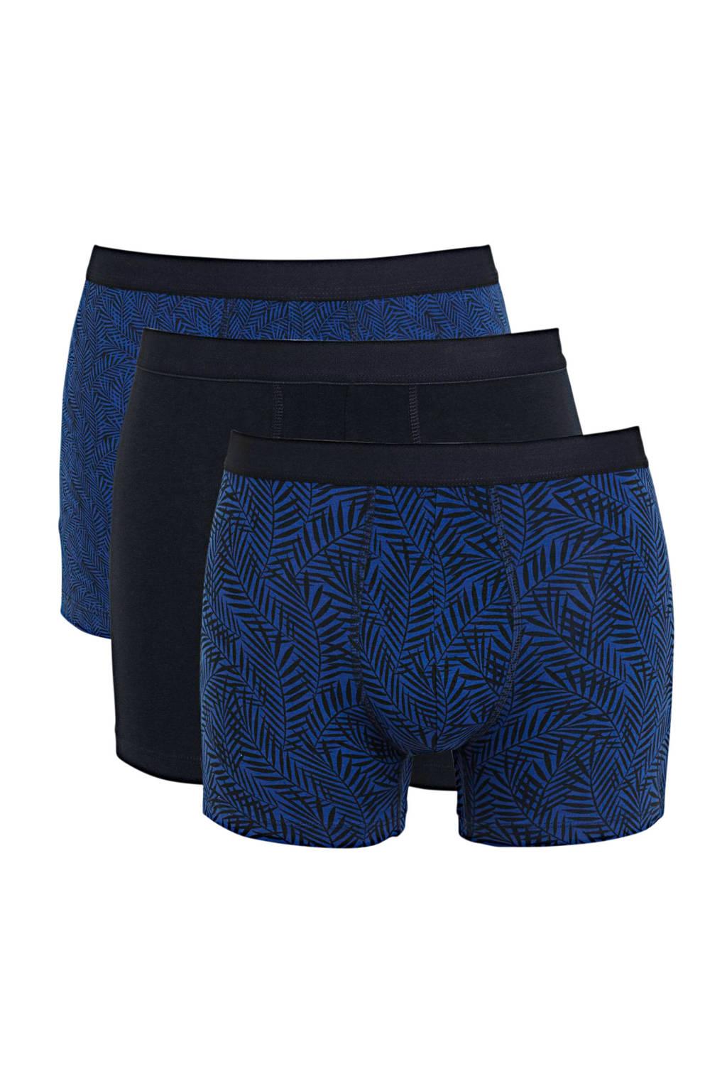 HEMA boxershort (set van 3), Donkerblauw/blauw