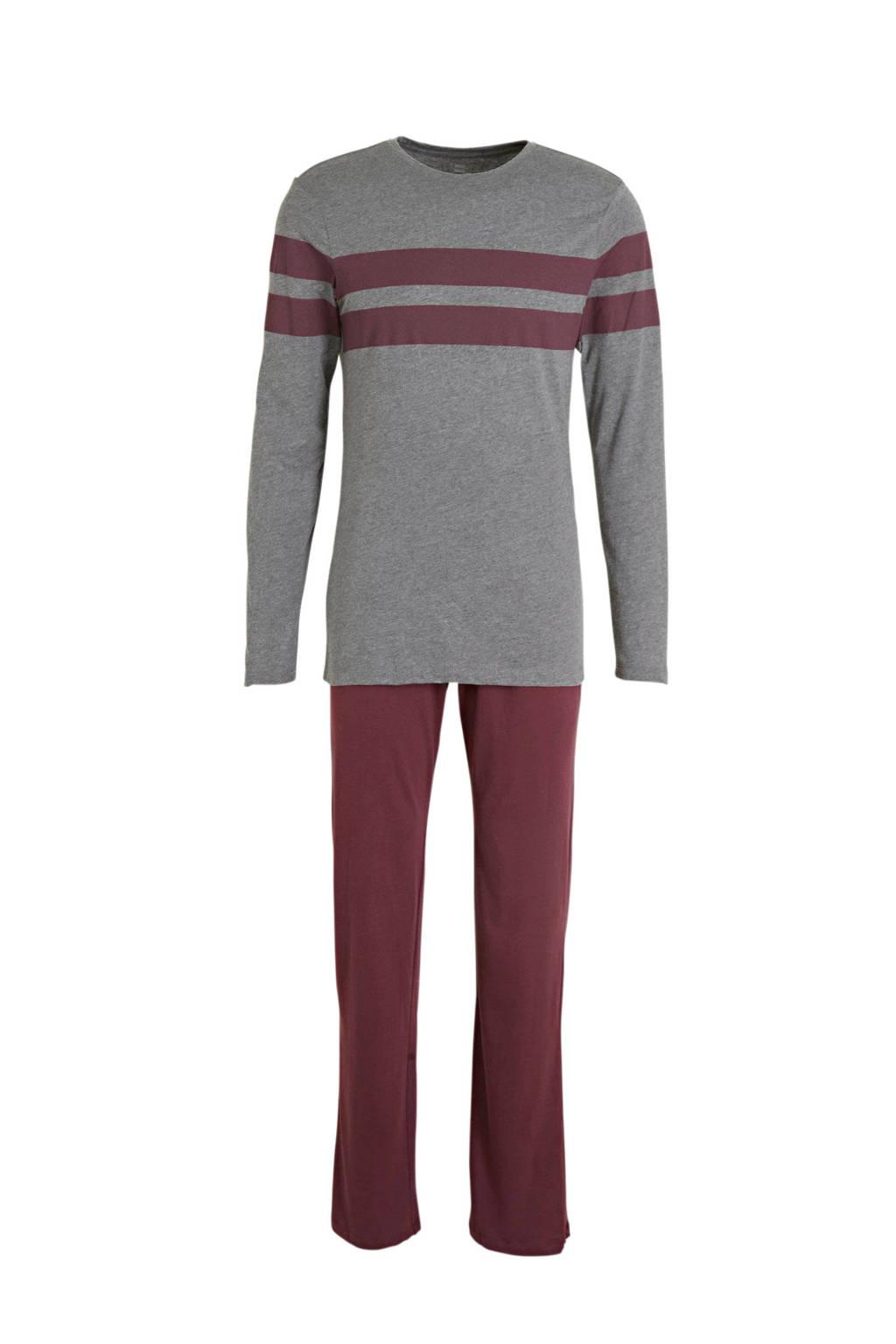 HEMA pyjama grijs/bordeaux, Grijs/bordeaux