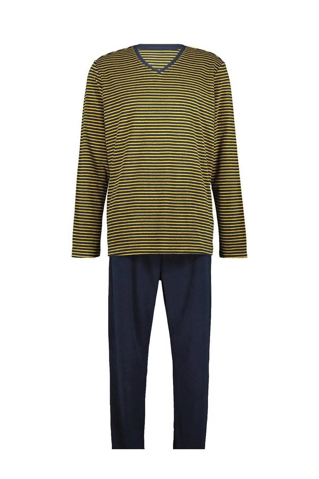 HEMA pyjama met strepen donkerblauw/geel, Donkerblauw