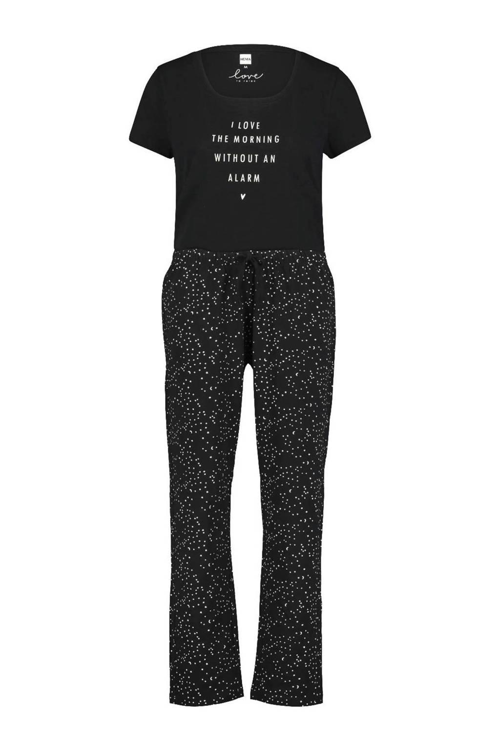 HEMA pyjama met printopdruk zwart, Zwart/wit