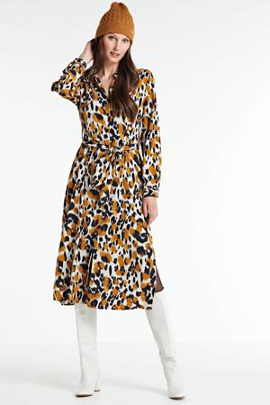 blousejurk met all over print en ceintuur ecru/bruin/zwart