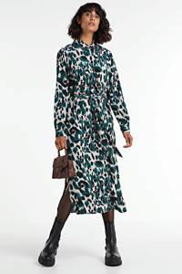 SisterS Point blousejurk met all over print en ceintuur kgroen/créme, kGroen/créme