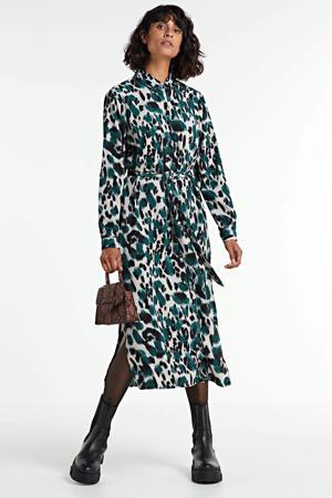 blousejurk met all over print en ceintuur kgroen/créme