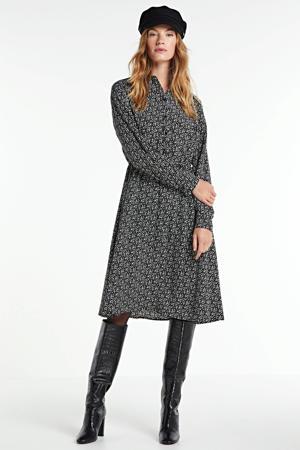 blousejurk Vike met all over print en ceintuur zwart/crème
