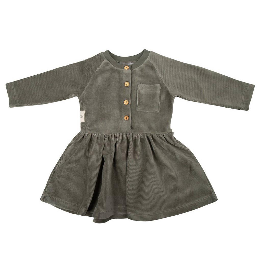 Little Indians corduroy A-lijn jurk met plooien groen, Groen