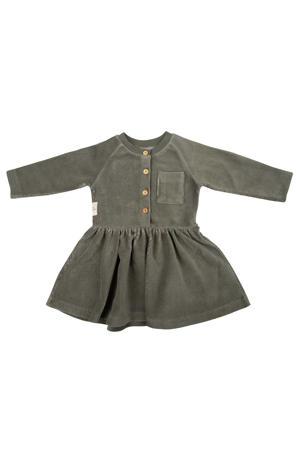 corduroy A-lijn jurk met plooien groen