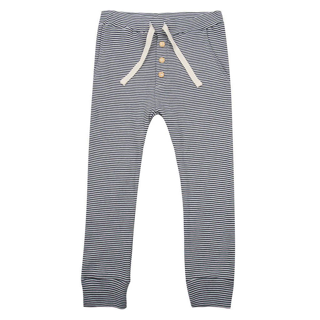 Little Indians gestreepte broek met biologisch katoen donkerblauw/wit, Donkerblauw/wit