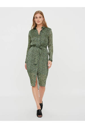 blousejurk Katinka met all over print en ceintuur groen