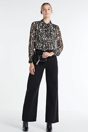 blouse met all over print groen/wit/zwart