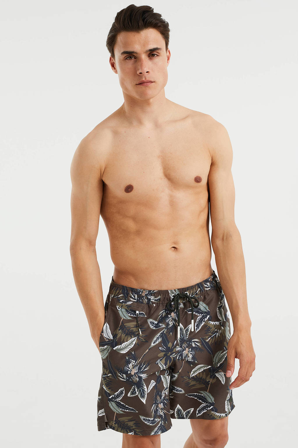 WE Fashion zwemshort met all over print donkergroen, Donkergroen