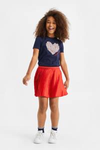WE Fashion plissé rok met glitters rood, Rood