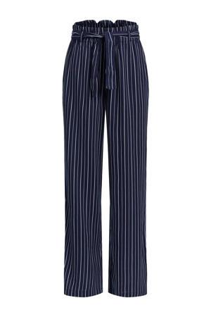gestreepte straight fit broek donkerblauw/wit