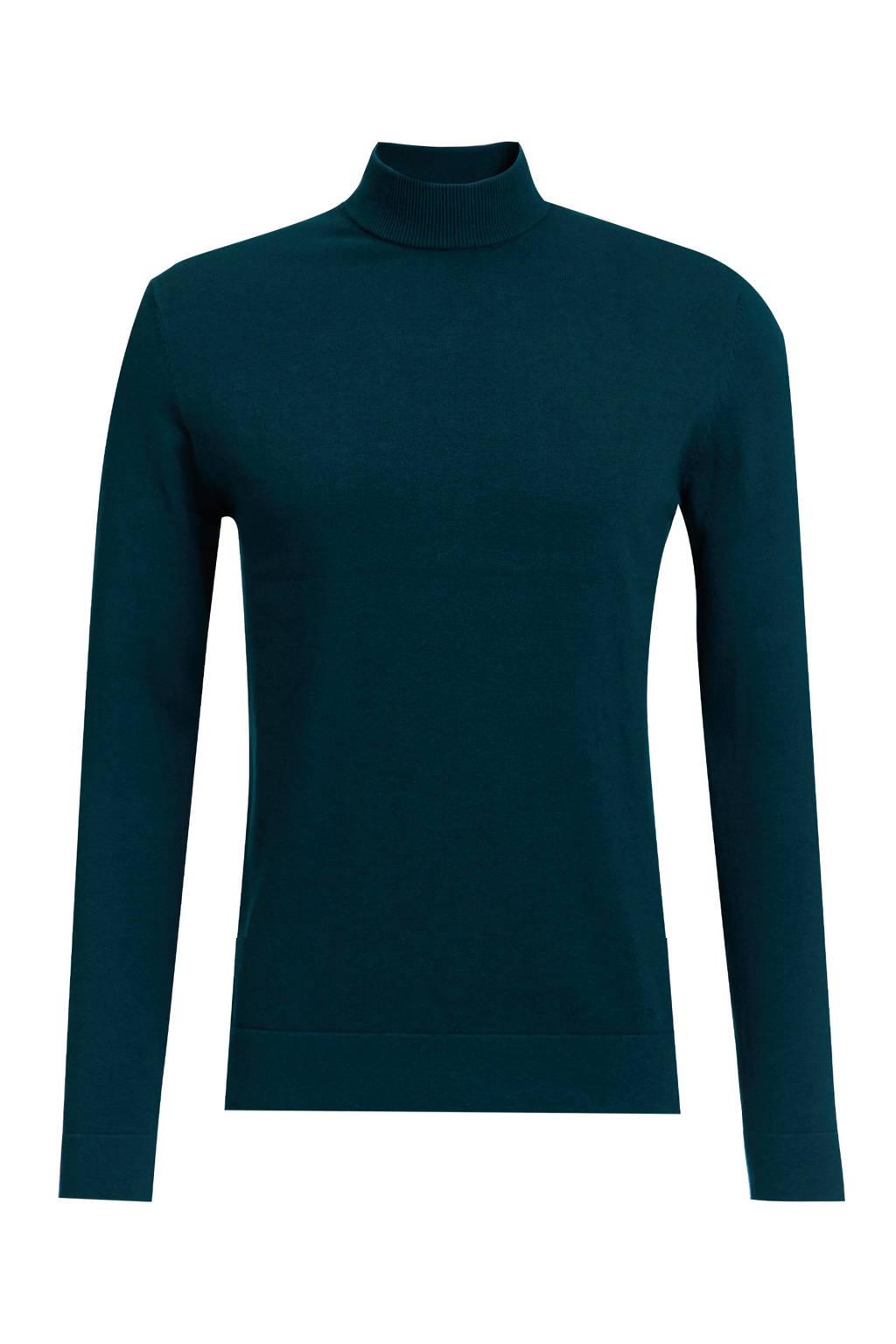WE Fashion Fundamentals fijngebreide trui donkergroen, Donkergroen