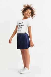 WE Fashion T-shirt met printopdruk wit/zwart, Wit/zwart