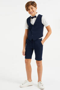 WE Fashion slim fit short met textuur donkerblauw, Donkerblauw