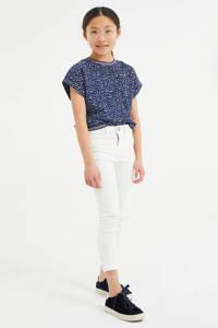 WE Fashion T-shirt met stippen donkerblauw/wit, Donkerblauw/wit