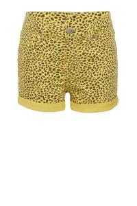 WE Fashion Blue Ridge skinny jeans short Peggy met dierenprint geel/zwart, Geel/zwart