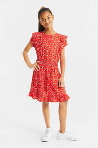 WE Fashion jurk met all over print rood/wit, Rood/wit