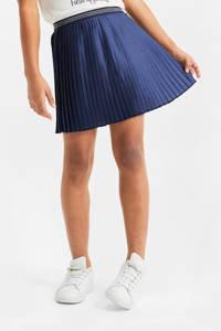 WE Fashion plissé rok met glitters donkerblauw, Donkerblauw