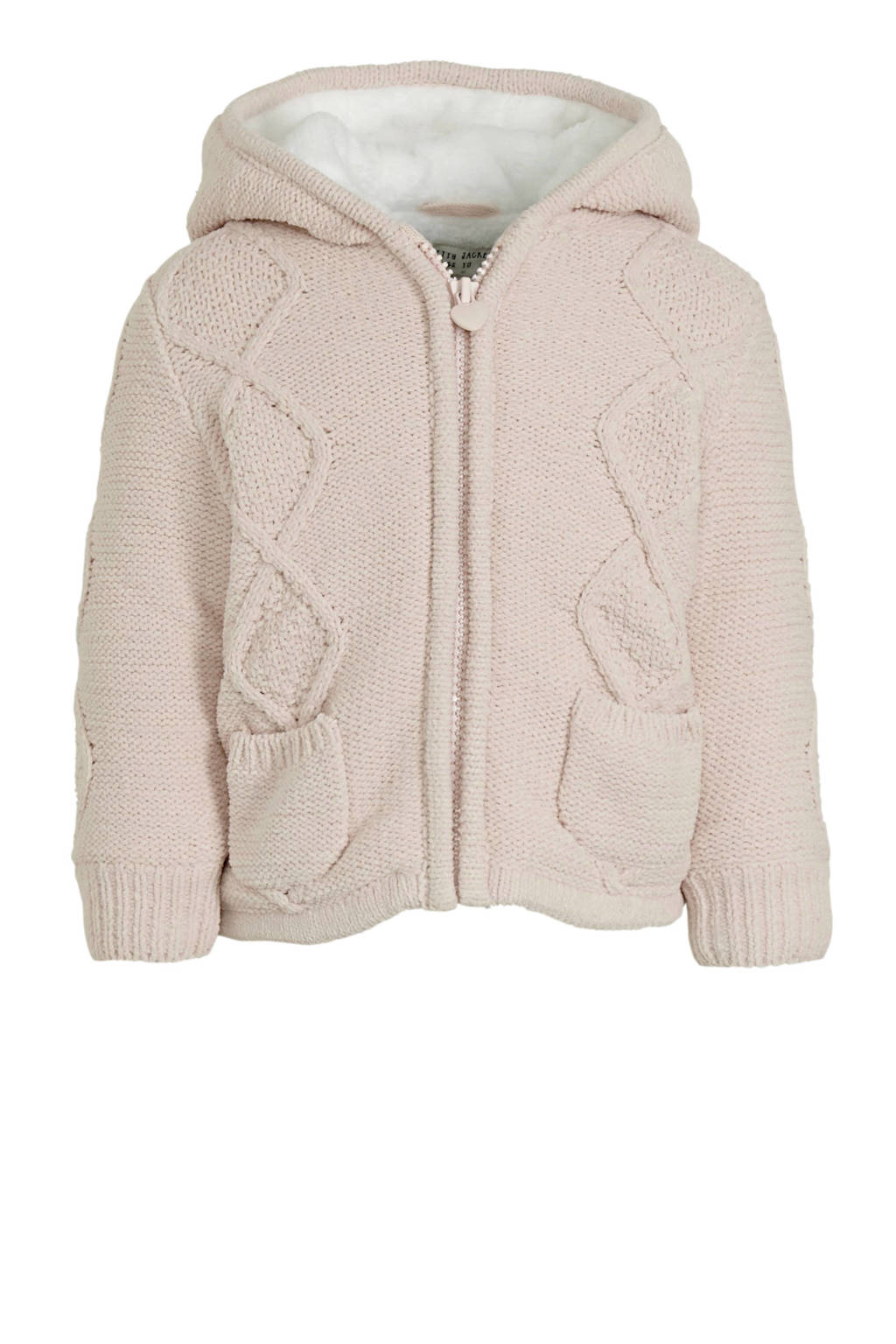 C&A Baby Club gebreide winterjas lichtroze, Lichtroze/wit