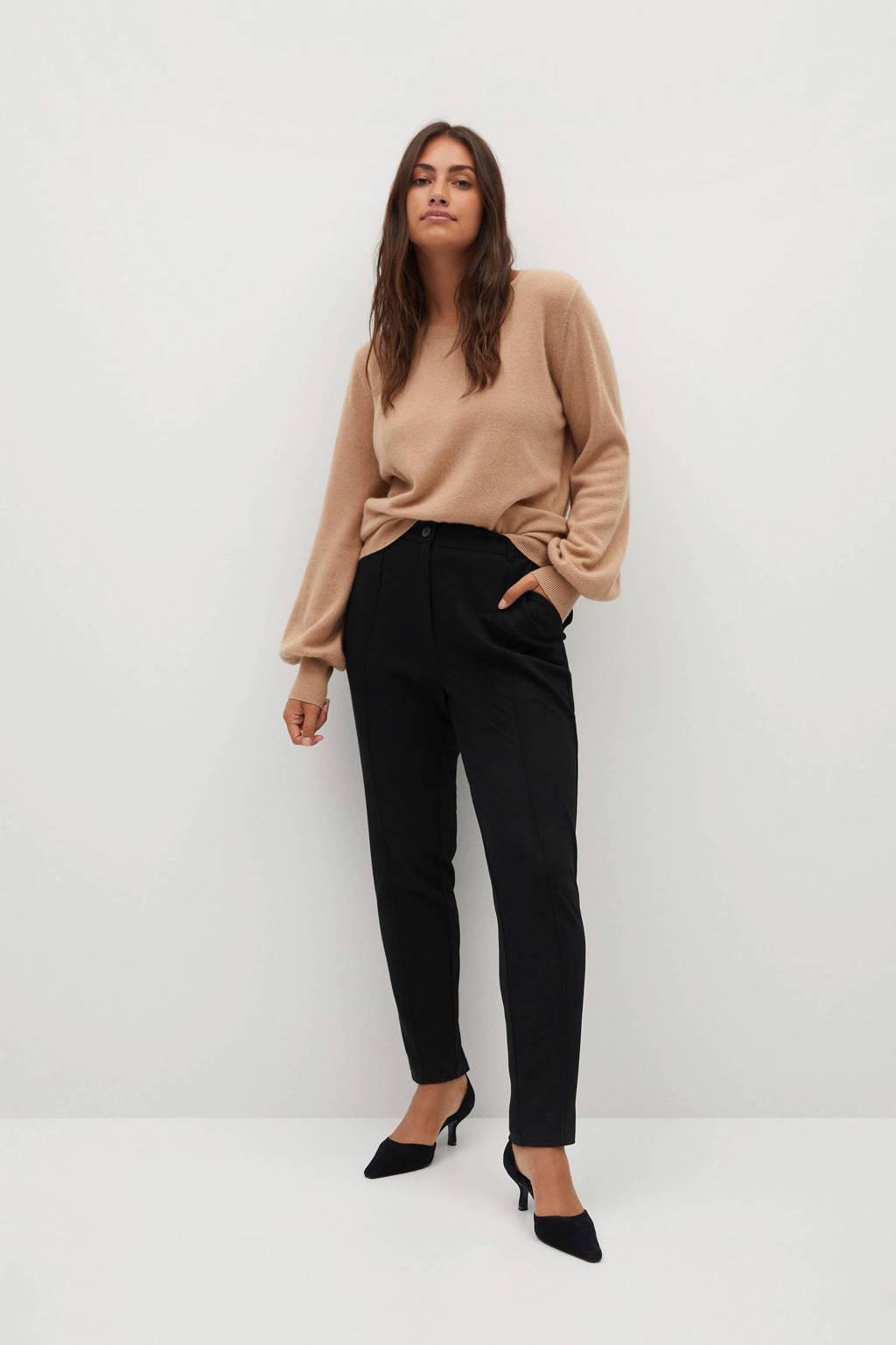 Violeta by Mango high waist slim fit pantalon zwart, Zwart