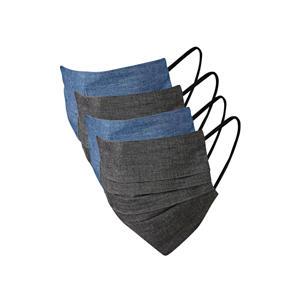 unisex mondkapje - set van 4 zwart/denim